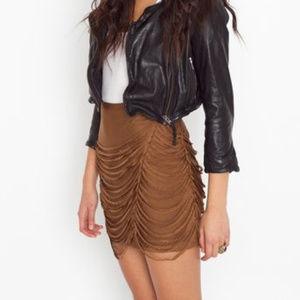Nasty Gal Aryn H Sz L Draped Fringe Silk Skirt